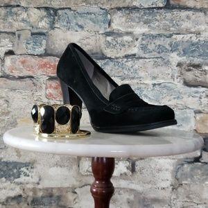 TALBOTS Black Suede Loafer Heel Size 6